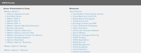 VMware forum screengrab