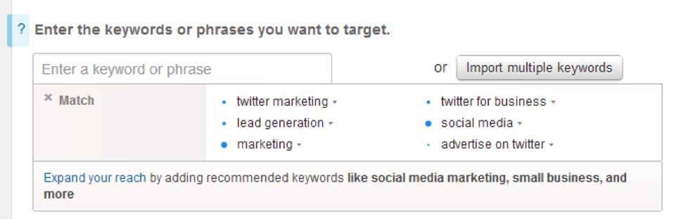 Targeting by keywords