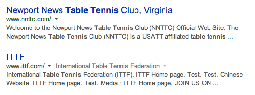Table Tennis Bold Title