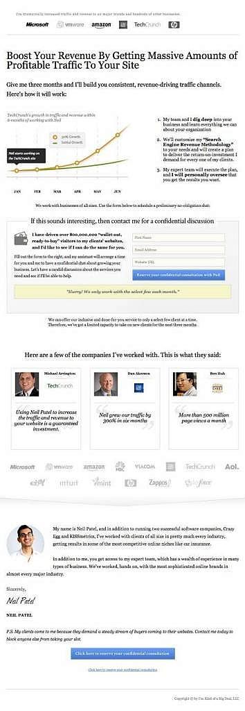new neil patel homepage
