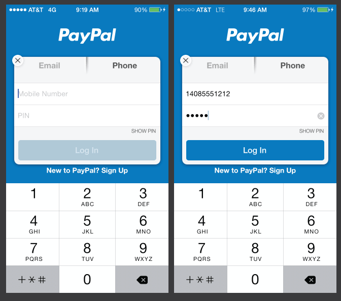 Mobile app form showing disabled fields and button (left) and then enabled (right).