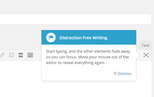 Launching distraction free mode in WordPress